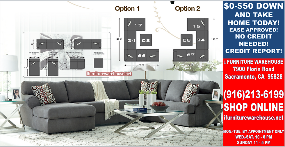 IN STOCK NEW_3PCS STEEL STATIONARY SOFA SECTIONAL W/LAF CHAISE/PILLOWS
