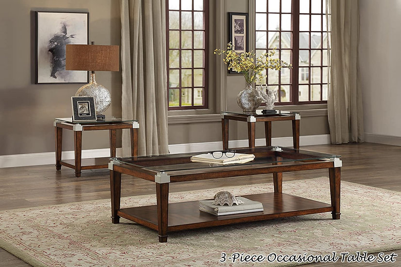 """IN STOCK GLASS TOP OCCASIONAL COFFEE TABLE """"3PCS SET"""", Brown"""