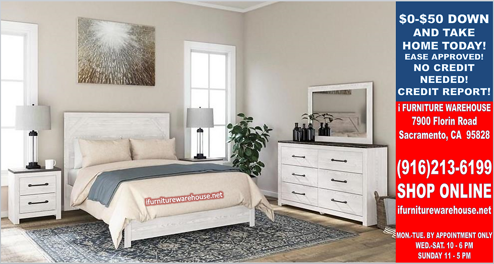 IN STOCK NEW_WHITE RUSTIC PANEL QUEEN BED.  MATTRESS SET NOT INCLUDE