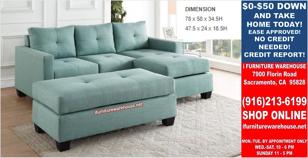 IN STOCK NEW_2PCS. REVERSIBLE  TEAL SMALL SECTIONAL SOFA SLEEPER/ NO OTTOMAN