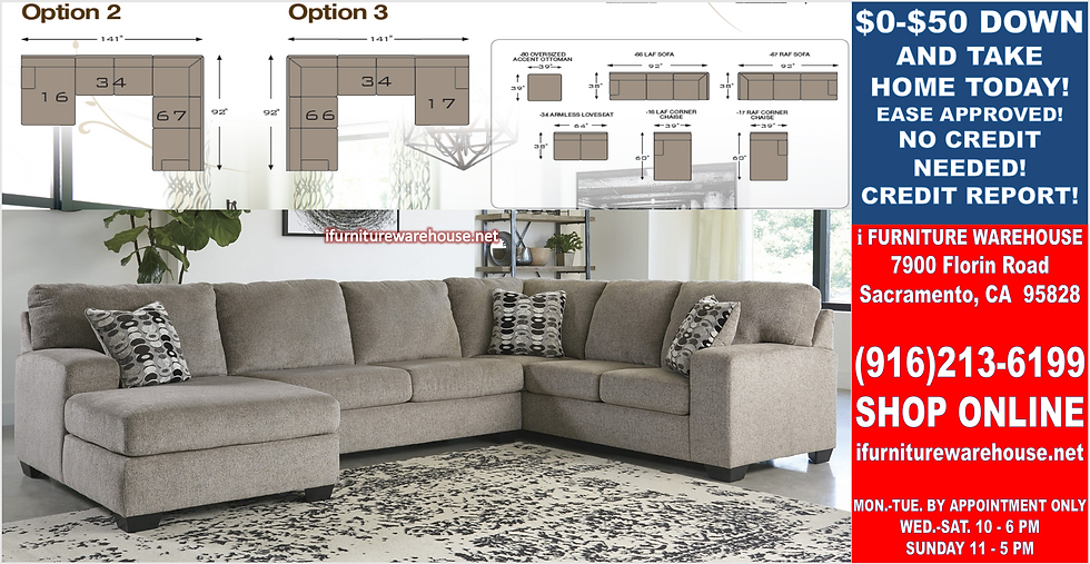 IN STOCK NEW_3PCS PLATIIUM STATIONARY SOFA SECTIONAL W/LAF CHAISE/PILLOWS