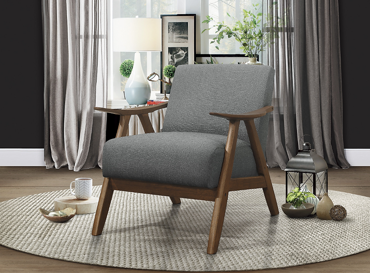 IN STOCK RETRO NEW_SOLID WOOD DARK GRAY FABRIC ACCENT CHAIR