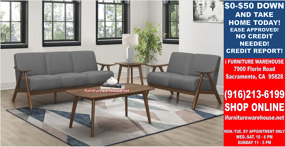 IN STOCK NEW_2PCS SOLID WOOD GRAY FABRIC SOFA, LOVESEAT