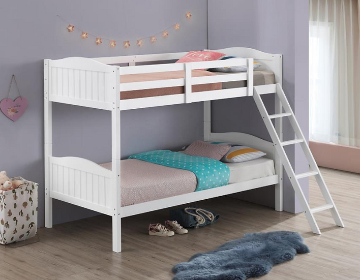 STOCK NEW_WOOD WHITE TWIN/TWIN YOUTH BUNK BED ONLY.