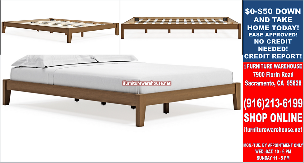 IN STOCK NEW_QUEEN BED, LIGHT BROWN PLATFORM ONLY.  MATTRESS NOT INCLUDED.