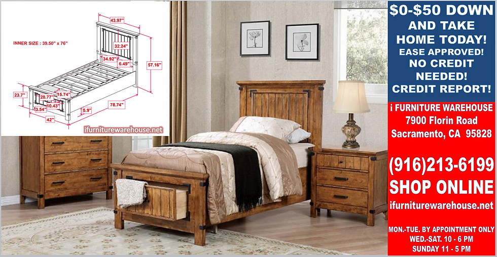 IN STOCK NEW_RUSTIC HONEY TWIN BED, PLATFORM BED WITH DRAWER.  NO BOX NEEDED.