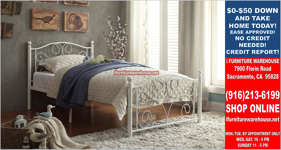 IN STOCK NEW_WHITE IRON TWIN BED PLATFORM ONLY/  BOX SPRING NOT REQUIRED