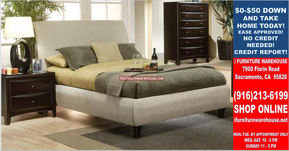 IN STOCK NEW_PHOENIX UPHOLSTERED BEIGE CAL KING BED ONLY/ BOX SPRING REQ