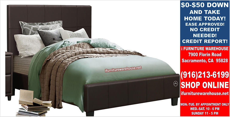 IN STOCK_NEW Brown Cal King Bed only. Platform Bed. No Box Needed.