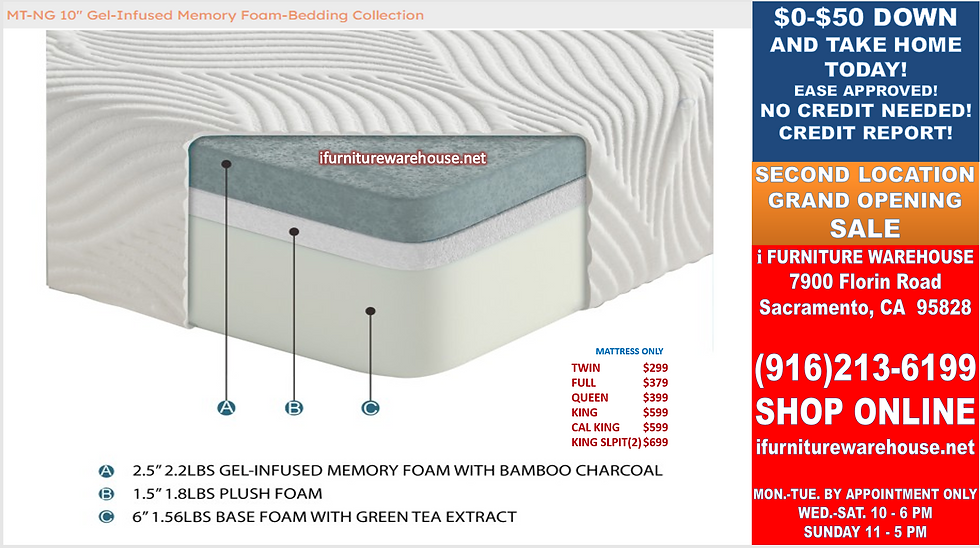"""IN STOCK NEW_10"""" BAMBOO COVER 2.5"""" GEL-MEMORY FOAM CAL. KING MATTRESS ONLY"""