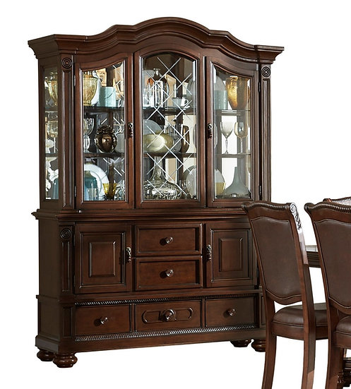 IN STOCK NEW_2PCS SET BROWN CHERRY CHINA BUFFET AND HUTCH.  OTHER PIECE AVAIL.