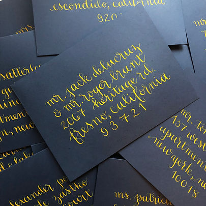 Navy Envelopes with Yellow Script