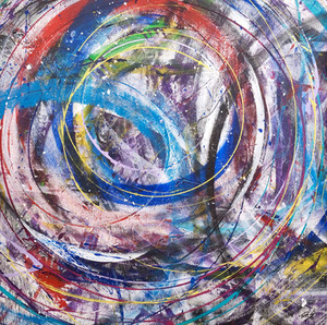 Turn it up II  Mixed media on canvas 100 x100cm 2017