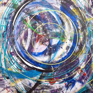 Turn it up I  Mixed media on canvas 100 x100cm 2017