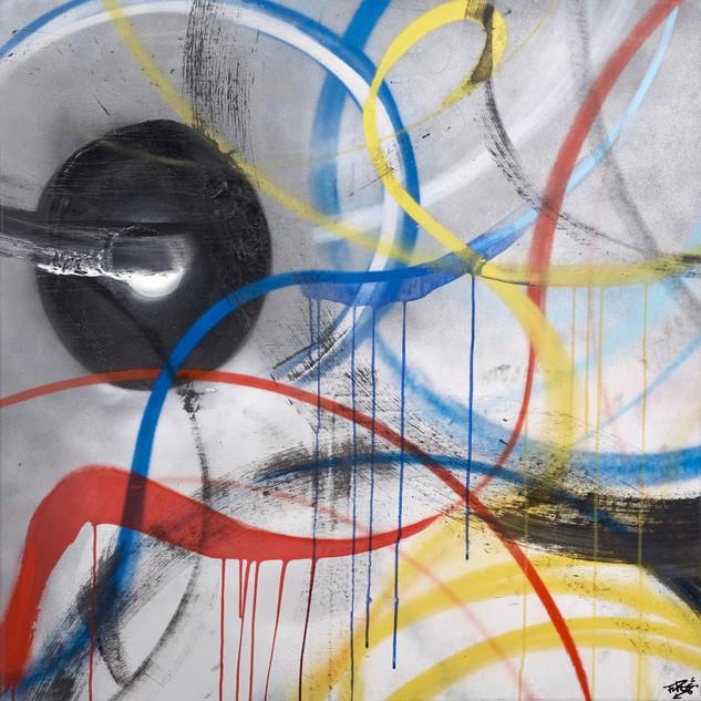 July 21st  Mixed media on canvas 95 x 95cm 2016