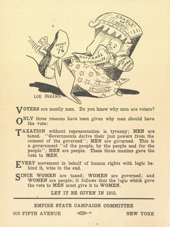 Women's Suffrage handbill produced by the Empire  State Campaign Committee, 1915