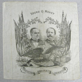 Handkerchief from the William McKinley  and Garret Hobart campaign, 1896