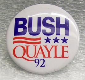 George Bush and Dan Quayle button, 1992