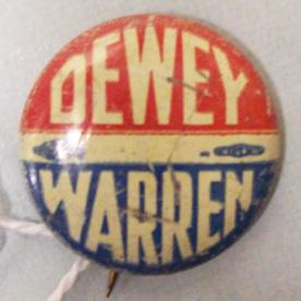 Thomas E. Dewey and Earl Warren button, 1948