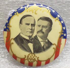 William McKinley and Theodore Roosevelt button, 1900