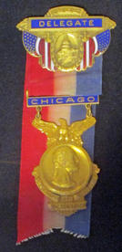 Ribbon worn by Seymour Lowman as a New York State delegate at the Republican National Convention in Chicago, 1932