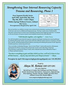 Trauma Resourcing Phase 1 Flyer April Ma
