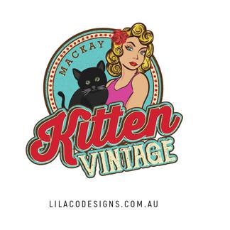 Kitten Vintage Mackay Logo Design by Lilaco Designs