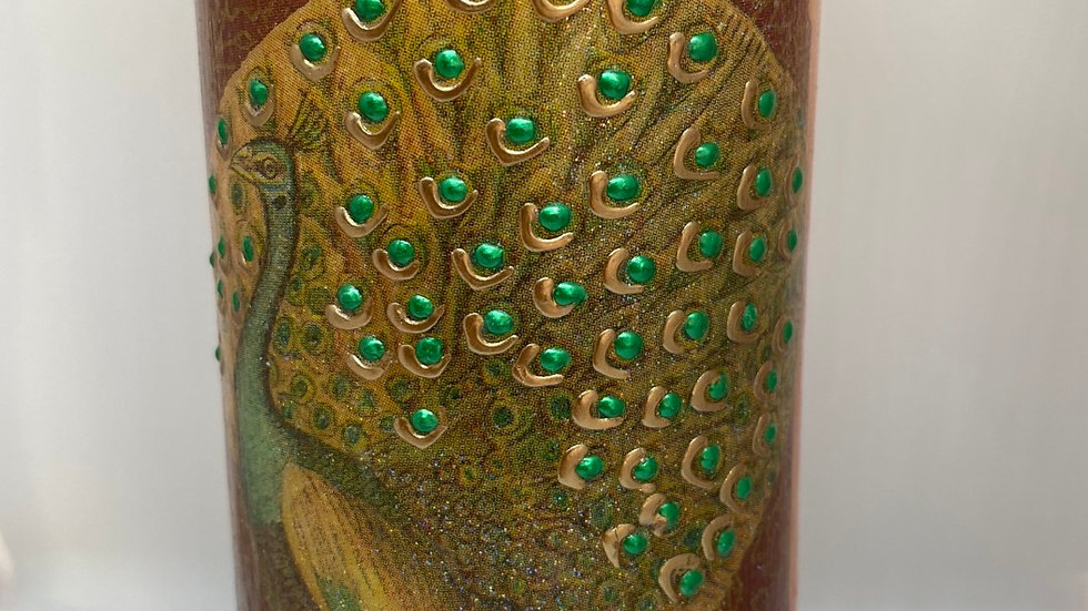 Golden palace peacock LED flameless candle