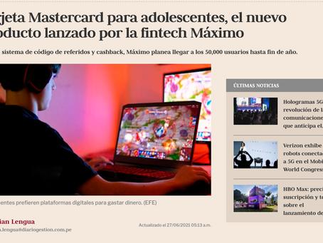 Tarjeta Mastercard® para adolescentes, el nuevo producto lanzado por la fintech Máximo.