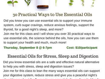 Essential Oils Classes in September