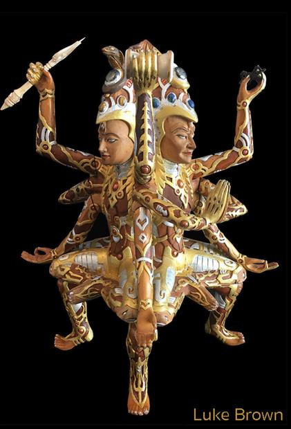 Shambhala Wooden Sculpture by Visionary Artist Luke Brown 4