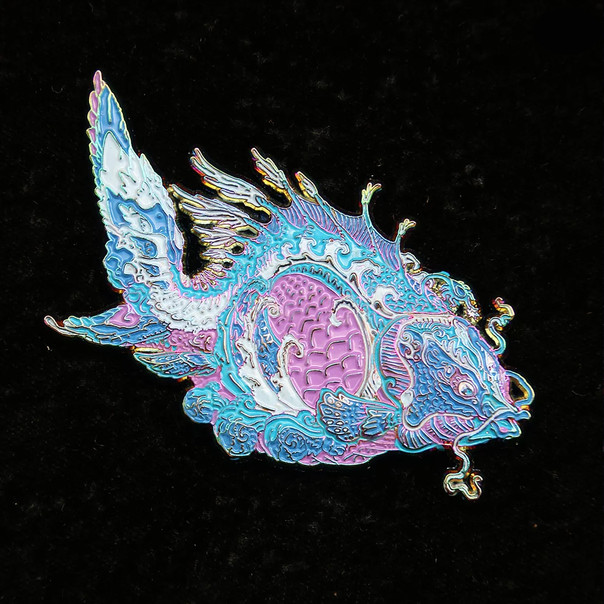 'Fractal Fish' Pin by Luke Brown