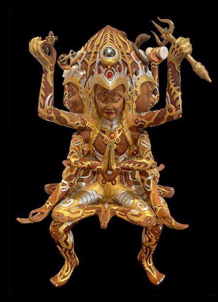 Shambhala Wooden Sculpture by Visionary Artist Luke Brown 3