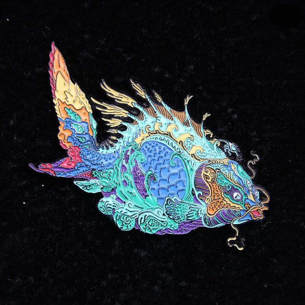 'Fractal Fish' Pin by Luke Brown