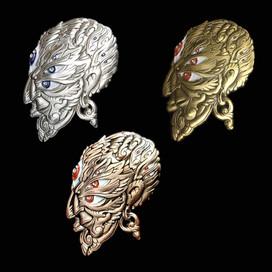 'Fractal Face' Pins by Luke Brown - Full Set of 3