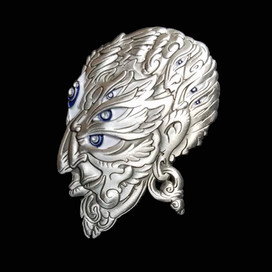 'Fractal Face' Pin by Luke Brown - Antique Silver