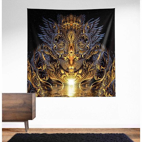 Fractal Feline Firelight UV Reactive Tapestry