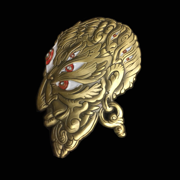 'Fractal Face' pin by Luke Brown - Antique Gold