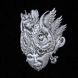 'Fractal Feline' Pin by Luke Brown - Antique Silver
