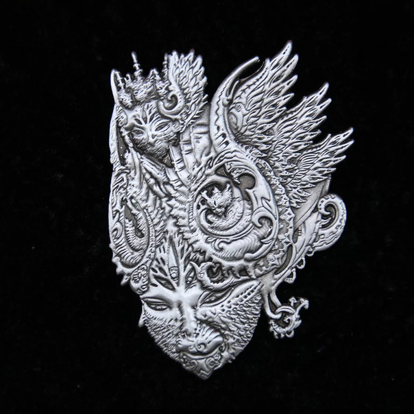'Fractal Feline' Pin by Luke Brown - Antique Silver