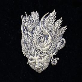 'Fractal Feline' Pin by Luke Brown - Antique Gold