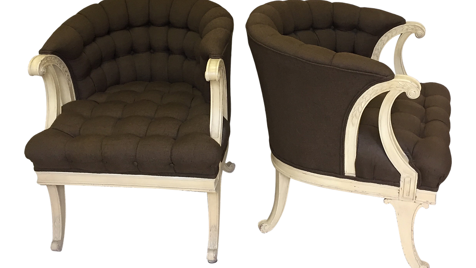 Pair of French 1940's Tufted Armchairs