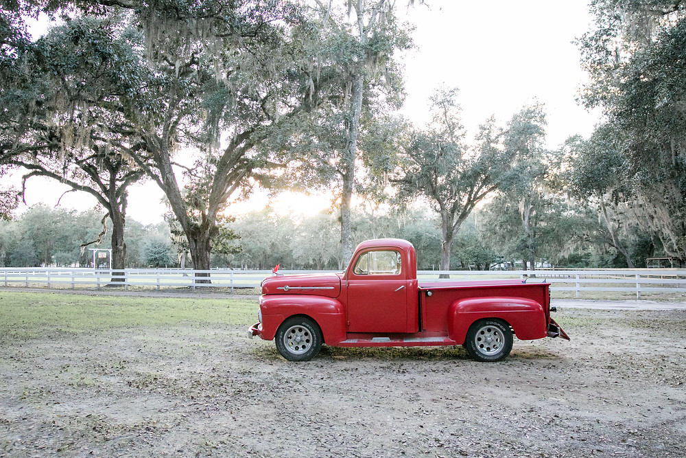lovely tree line on the charndler oaks barn property located in st. augustine with a rustic, red, antique truck and sunset background among oak trees