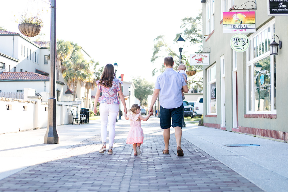downtown st. augustine family photography session with light and airy vibe with two kids and two adults