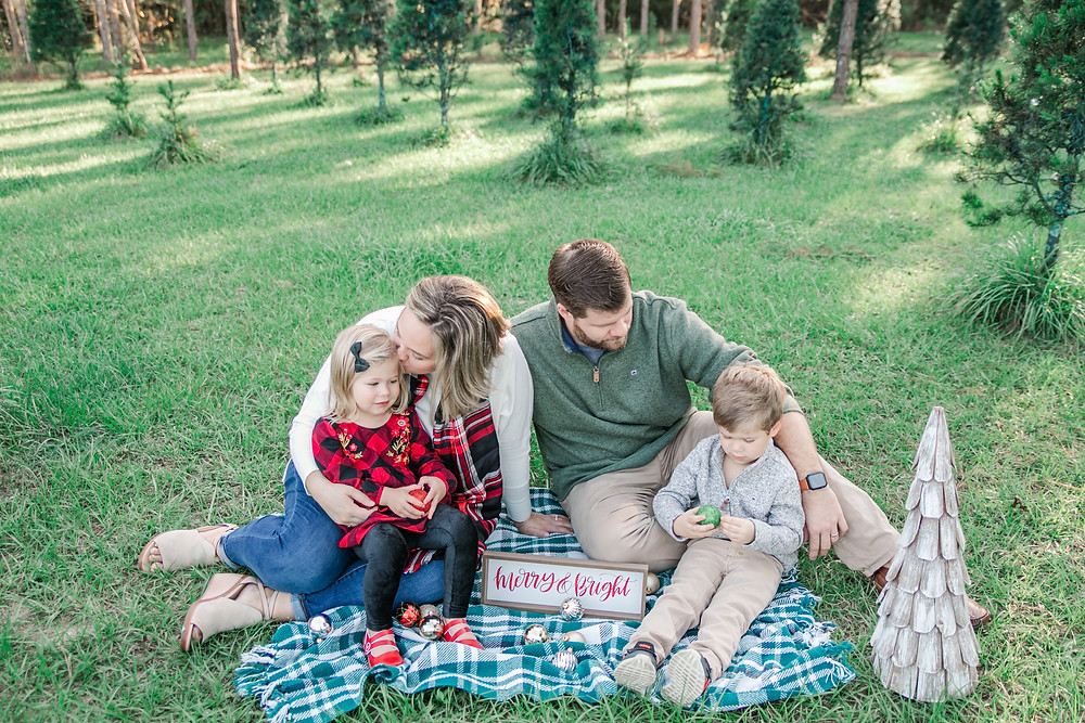 family photography winter holiday christmas tree farm collection deck the halls bright and airy style with toddlers