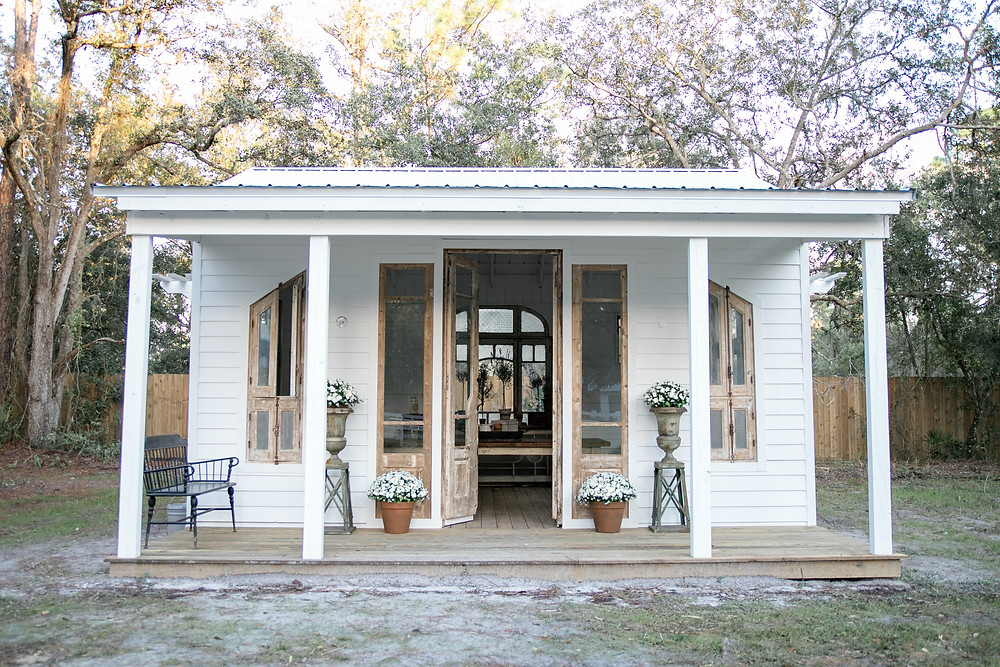 the new, lovely she shed located in st. augustine at chandler oaks barn with adorable decor and gorgeous antique doors