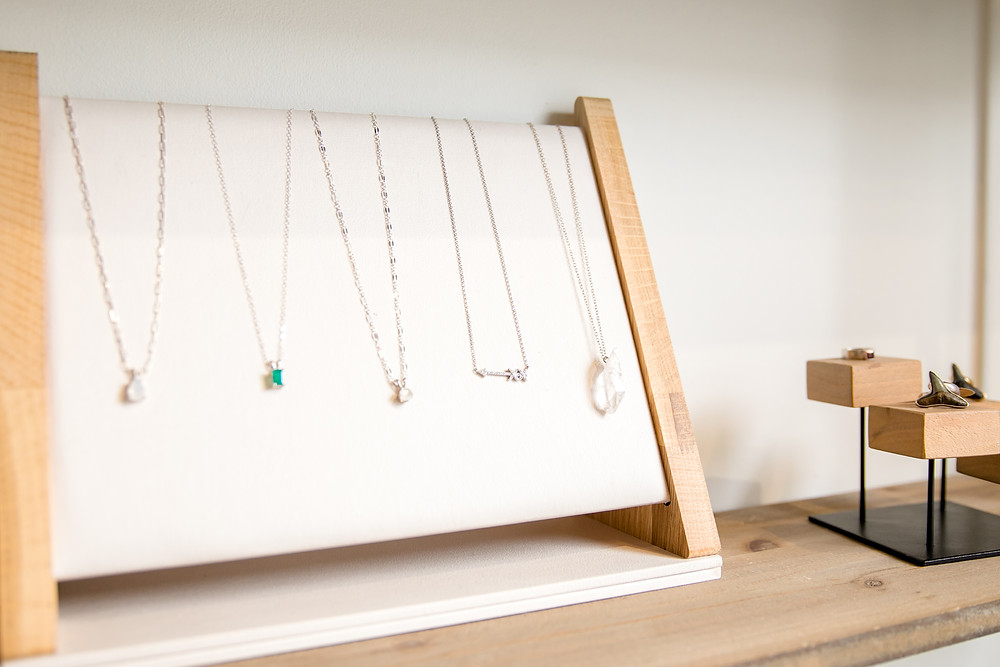 laurel baker at anchor b boutique necklaces with special stones gems and diamonds with gold silver engagement ring accents