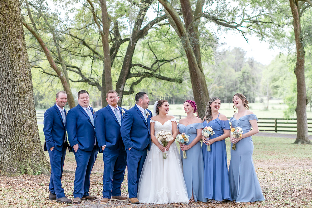 bridal party all 4 one farms in jacksonville florida wedding photography photographer kelsey breton engagement bridal party happy cheers greenery oak trees farm classy shabby chici