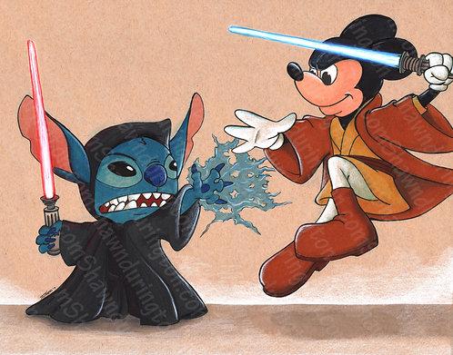 StarWars Mickey vs Stitch - 11x14 Print