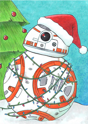 Christmas with BB-8 - 5x7 Print